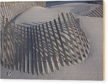 Sand Fence On The Beach In Destin Wood Print by Marc Moritsch