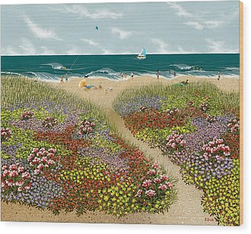 Sand Path Wood Print by Katherine Young-Beck