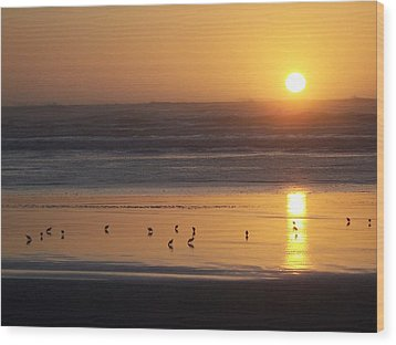 Wood Print featuring the photograph Sandpipers At Sunset by Peter Mooyman