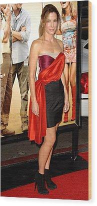 Sandra Bullock Wearing A Lanvin Dress Wood Print by Everett