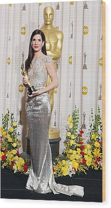 Sandra Bullock Wearing A Marchesa Gown Wood Print by Everett