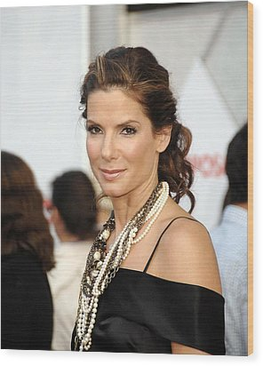 Sandra Bullock Wearing Lanvin Necklaces Wood Print by Everett