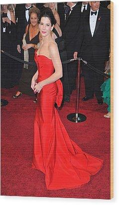 Sandra Bullock Wearing Vera Wang Dress Wood Print by Everett