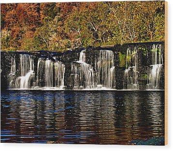 Sandstone Falls In Autumn Wood Print by Matthew Winn