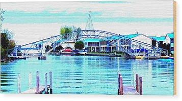 Sandy Beach Bridge Wood Print