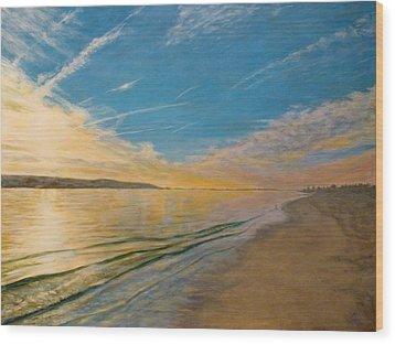 Wood Print featuring the painting Sandy Hook Bay by Joe Bergholm