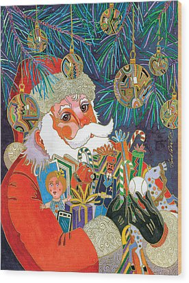 Santa And Gifts Wood Print by Bob Coonts