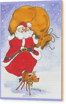 Santa And Rudolph Wood Print by Peggy Wilson