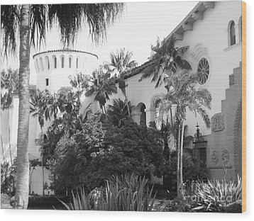 Wood Print featuring the photograph Santa Barbara Courthouse by Ann Johndro-Collins