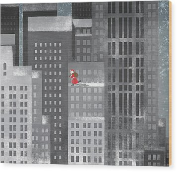 Santa Clause Running On A Skyscraper Wood Print by Jutta Kuss
