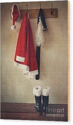 Santa Costume With Boots On Coathook Wood Print by Sandra Cunningham