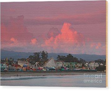 Santa Cruz Beach Boardwalk Wood Print by Garnett  Jaeger