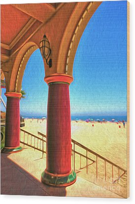 Santa Cruz Boardwalk - Beach Wood Print by Gregory Dyer