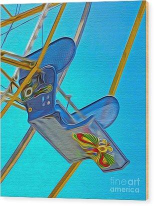 Santa Cruz Boardwalk - Ferris Wheel - 03 Wood Print by Gregory Dyer