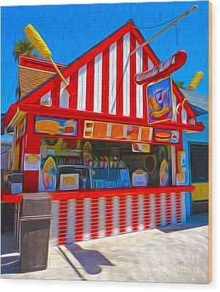 Santa Cruz Boardwalk - Hot Dog Stand Wood Print by Gregory Dyer