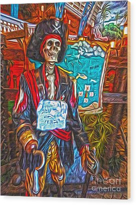 Santa Cruz Boardwalk - Pirate Of The Arcade Wood Print by Gregory Dyer