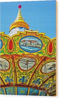 Santa Cruz Boardwalk - Tilt-a-whirl - 03 Wood Print by Gregory Dyer
