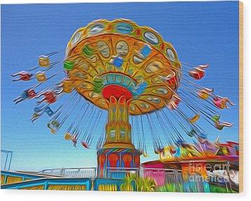 Santa Cruz Boardwalk - Tilt-a-whirl - 04a Wood Print by Gregory Dyer