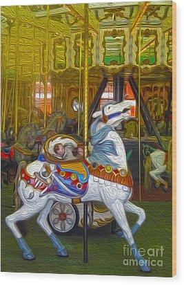 Santa Cruz Boardwalk Carousel Horse Wood Print by Gregory Dyer