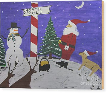 Santa Finds Pot Of Gold Wood Print by Jeffrey Koss