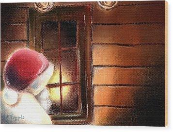 Santa Wood Print by Hiroko Sakai