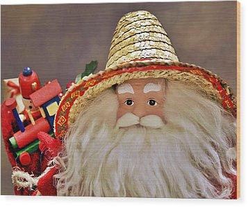 Santa Is A Gardener Wood Print by Christine Till