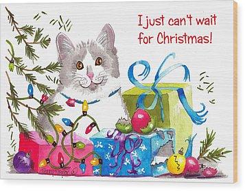 Santa's Helper Greetings Wood Print by Terry Taylor