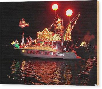 Santa's Sleigh Boat Wood Print