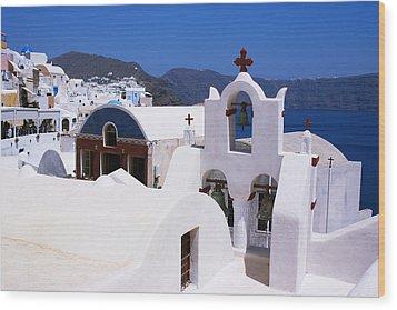 Santorini Architecture Wood Print by Paul Cowan
