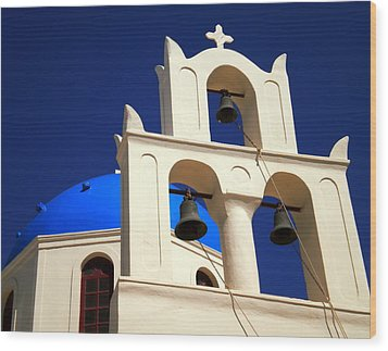 Wood Print featuring the photograph santorini Church Greee by Colette V Hera  Guggenheim