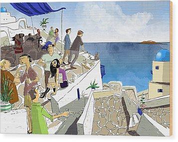 Santorini Rooftop  Wood Print by Sean Hagan