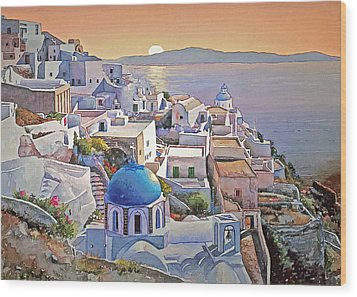 Santorini Sunrise Wood Print by Joseph Hendrix