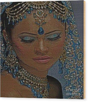 Saphire Goddess Wood Print by Liz Loz