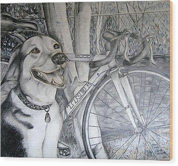 Sapphire And Bike Wood Print by HHolly Bazmi