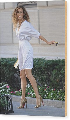 Sarah Jessica Parker Wearing A Halston Wood Print by Everett