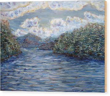 Wood Print featuring the painting Saranac Lake On A Summer Evening by Denny Morreale
