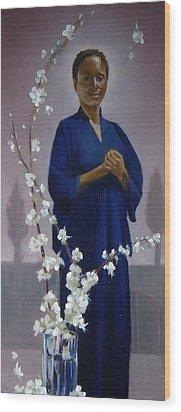 Sariya In Her Gated Garden Wood Print