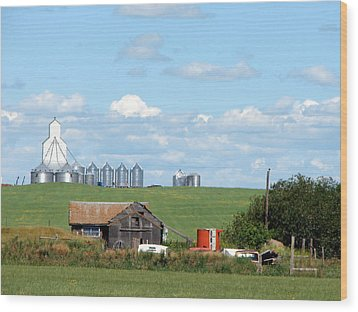 Wood Print featuring the mixed media Saskatchewan Farms Old And New by Bruce Ritchie