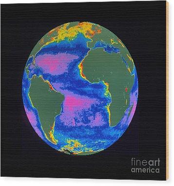 Satellite Image Of The Atlantic Ocean Wood Print by Dr. Gene Feldman, NASA Goddard Space Flight Center