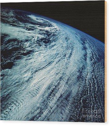Satellite Images Of Storm Patterns Wood Print by Stocktrek Images