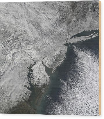 Satellite View Of A Noreaster Snow Wood Print by Stocktrek Images