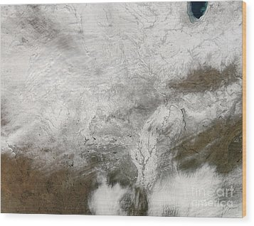 Satellite View Of A Severe Winter Storm Wood Print by Stocktrek Images