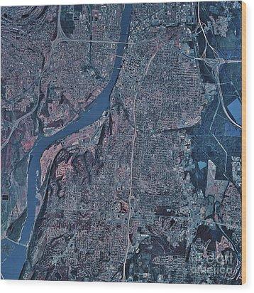Satellite View Of Little Rock, Arkansas Wood Print by Stocktrek Images