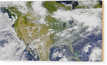 Satellite View Of North America Wood Print by Stocktrek Images