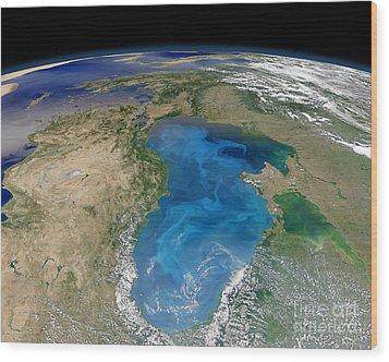 Satellite View Of Swirling Blue Wood Print by Stocktrek Images