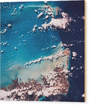 Satellite View Of The Ocean Wood Print by Stockbyte