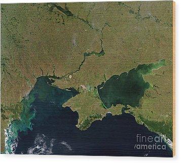 Satellite View Of The Ukraine Coast Wood Print by Stocktrek Images