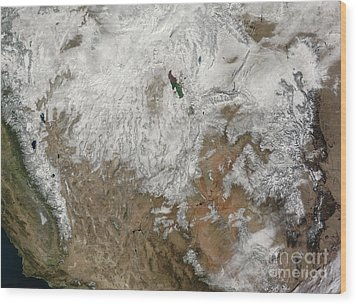 Satellite View Of The Western United Wood Print by Stocktrek Images