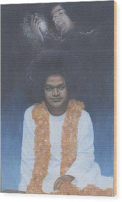 Sathya Sai Baba Divine II Wood Print by Anne Provost