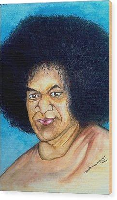 Sathya Sai Baba Wood Print by Jaiteg Singh
